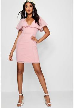 Boutique Ruffle Cape Mini Dress
