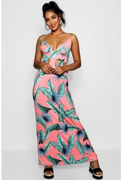 Tropical Plunge Front Cut Work Maxi Dress